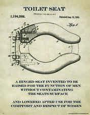 Bathroom Toilet Seat Cover Patent Poster Art Print Motivational Paper  PAT82