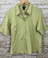 Venezia vneck button down shirt top blouse womens 18 green short sleeve new D9
