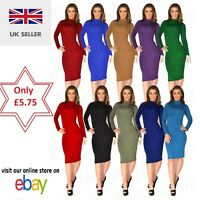 New Women Ladies Polo Turtle Neck Long Sleeve Plain Stretch Bodycon Midi Dress