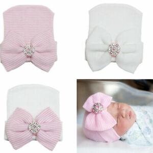 Newborn Baby Hat With Bow Infant Girl Boy Beanie Cap Elastic Toddler Turban Hats