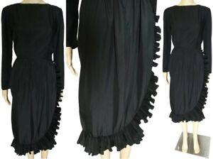 Vintage 1960s Dress | Victor Costa Dress | Black | Accordian Pleated Ruffling |