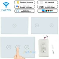 3 Gang Smart LED Light Dimmer WiFi Wall Touch Switch Work with Alexa Google Home