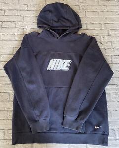 Vintage Nike Sweatshirt Jumper Hoodie Blue SPELL OUT Extra Large