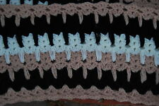 Cat & Kitten Infinity Scarf Soft Crochet Black, Tan, Ivory Large