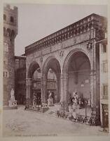 Firenze Loggia Dei Lanzi Italia 2 Foto Vintage Albumina