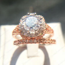 3.28 TCW Round Forever Moissanite Engagement Bridal Ring Set in 14K Rose Gold