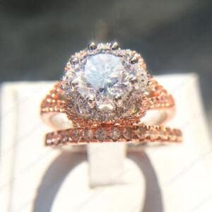 3.28 TCW Round Forever Moissanite Engagement Bridal Ring Set in 14K Rose Gold
