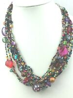 Vintage Style Necklace Glass Seed Bead Multi Vivid Color Plastic Mother of Pearl