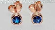 9ct Rose Gold on Silver Blue Sapphire Stud Earrings