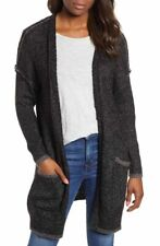 WIT & WISDOM WOMENS BLACK HEATHER WRAP OPEN CARDIGAN SWEATER SIZE M