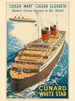 Queen Elizabeth Mary Cunard Vintage Ocean Liner Travel Advertisement Art Poster