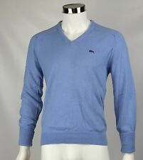 Vintage Izod Lacoste Mens Light Blue Alligator Orlon Acrylic VNeck Sweater Large