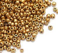 Rocailles Perlen 2mm Glasperlen Gold Topas 450g Schmuck Basteln Seed Beads A65