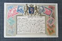 1906 GERMANY Coat of Arms Embossed Stamp Postcard by Ottmar Zieher, Used