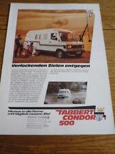 TABBERT CONDOR 500 MOTOR CARAVAN BROCHURE