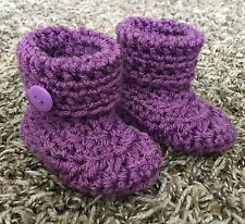Baby Infant Girl Handmade Crochet Purple Booties Size 0-3 Months