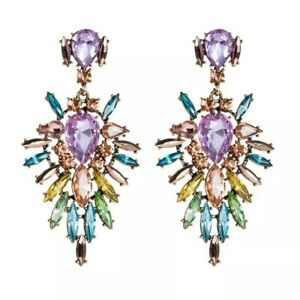 Statement peach & rainbow crystal drop cluster cocktail chandelier stud earrings