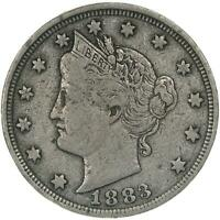 1883 Liberty V Nickel No Cents Fine FN