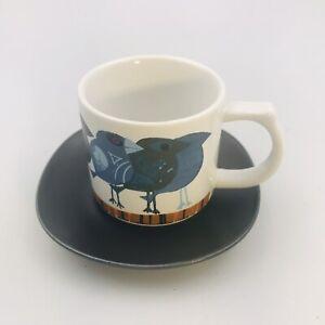 2017 David Weidman 2 Piece Espresso Cup w/ Saucer Blue Birds MCM Pop Art Retro