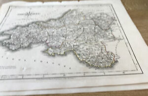 ANTIQUE MAP SOUTH WALES COLOUR J CARY 1793 + PAGE OF TEXT FROM CARYS NEW ATLAS