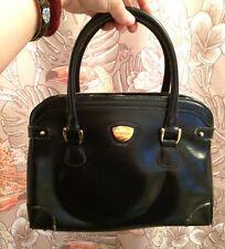 Vintage Gucci Handbag Black Leather Box Receipt Bag Cream 1980's New Old Stock