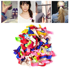 Pack of 100 Colorful Elastic Knotted Hairband Hair Ties Ponytail Holder Bracelet