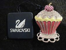 SWAROVSKI Swan Signed  Ice Cream Sundae CRYSTAL Brooch w/ Tag & Velvet Bag  238