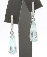 7.45 Carat Natural Aquamarine and Diamond in 14K Solid White Gold Earrings