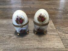 2 Dekoeier Schmuckdose Pillendose Stil Faberge 10 cm