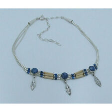 3 Strand .925 Liquid Sterling Silver Natural Blue Denim Lapis Bamboo Necklace