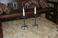 Pair Steel Candlestick Holders Vines, Roots, Leaves Handmade in Austin Texas
