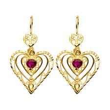 Heart Chandelier Earrings Solid 14k Yellow Gold Hearts Dangle Red CZ Love Fancy