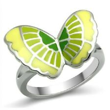 Butterfly Ring Stainless Steel Epoxy Green Yellow Silver Size 9, 10