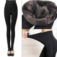 Women's Fleece Leggings Winter Thermal Stretchy Thick Warm Pants Solid Trousers