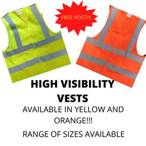Hi Vis High Viz Visibility Vest Waistcoat Safety FREE POSTAGE UK SELLER