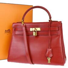 HERMES LOGO KELLY 32 2WAY SHOULDER HAND BAG BOX CALF LEATHER CADENA RED 143E029