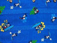 Disney Hawaiian Polynesian Button Up Shirt Rayon Mickey Mouse Hammock Surf EUC L