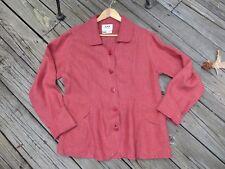 FLAX Jeanne Englehart red rust 100% linen jacket blazer *EUC