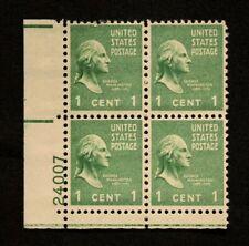 US Plate Blocks Stamps #804 ~ 1938 GEORGE WASHINGTON 1c Plate Block MNH