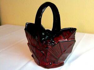 McCoy Black and  Red Ceramic Palm Leaf & Berries Easter Basket Goth Colors
