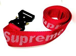 Men's women's red Webbing canvas Belt one Size quick release Buckle supreme