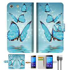 Cyan Butterfly Wallet TPU Case Cover For Sony Xperia M5 -- A019