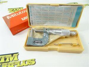 """NEW! MITUTOYO 0-1"""" PRECISION TUBE MICROMETER .0001"""" GRADS W/ CASE 115-314"""