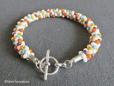 White & Multi Colours Kumihimo Seed Bead Fashion Bracelet