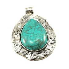 60x50x9mm Large Magnesite Turquoise Pewter Pendant (EPD73)a Jewelry Necklace