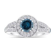 1.83 Carat Enhanced Blue Diamond Engagement Ring 14K White Gold Handmade Halo