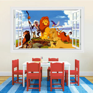 3D Cartoon Lion King Simba Wall Sticker Vinyl Decal for Baby Nursery Kid Bedroom