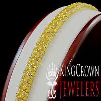 Men Ladies Canary Citrine Gold Finish Round Cut 2 Row 10MM Bracelet Simu Diamond
