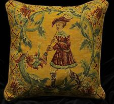 "Piped TAPESTRY SCATTER CUSHION Cover BOY with FLUTE 42cm 17"" Medieval Design"