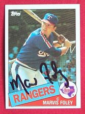 Marvis Foley Texas Rangers 1985 Topps Signed Card #621